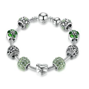 Green Antique Silver Charm Bracelet & Bangle Gifts